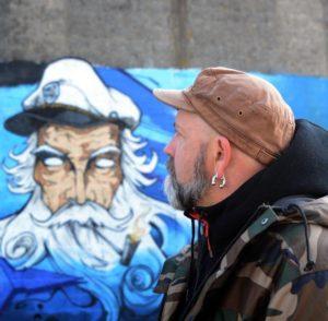 Jefgraffik : une fresque sur le mur de la médiathèque ! @ Médiathèque d'Allaire