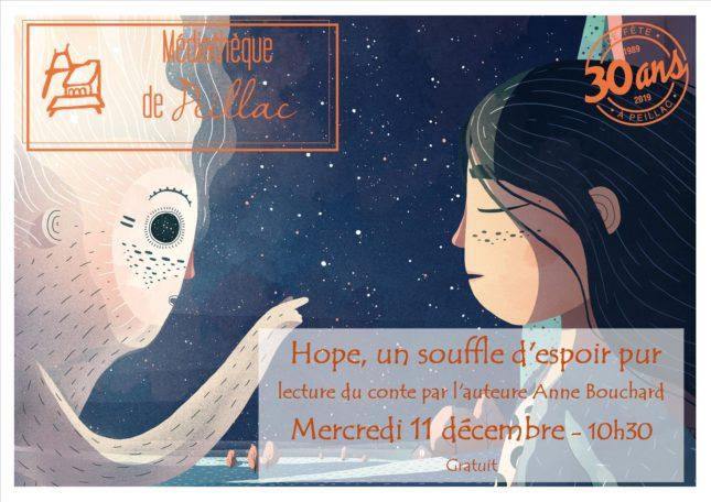 """""""Hope, un souffle d'espoir pur"""" : lecture du conte par l'auteure Anne Bouchard. @ Mediathèque Le Grand Logis"""