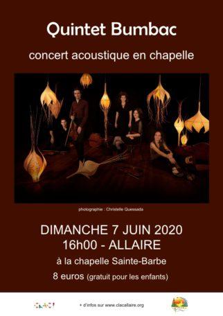 Quintet Bumbac - concert acoustique en chapelle @ Chapelle Le clos Sainte-Barbe