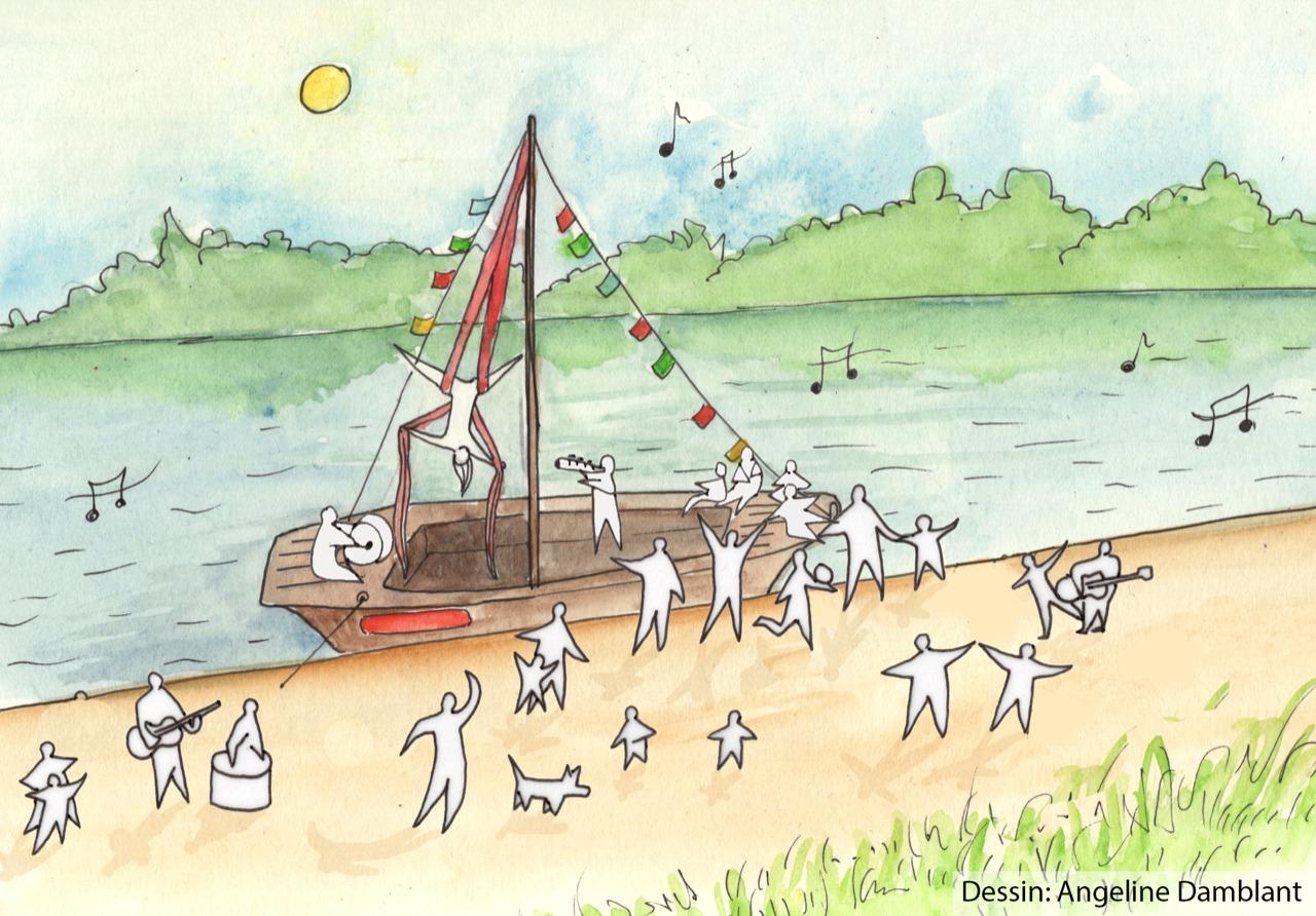 Spectacle sur le bateau avec la Cie Fata Morgana